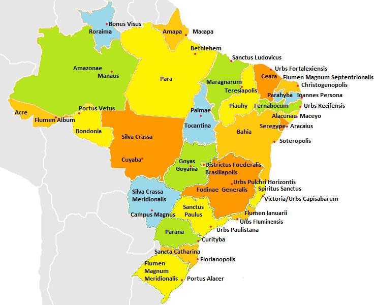 Mapa dos estados e capitais do Brasil em latim